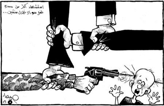 """Cartoon reads: """"More than 5000 Syrian children martyred in two years."""""""