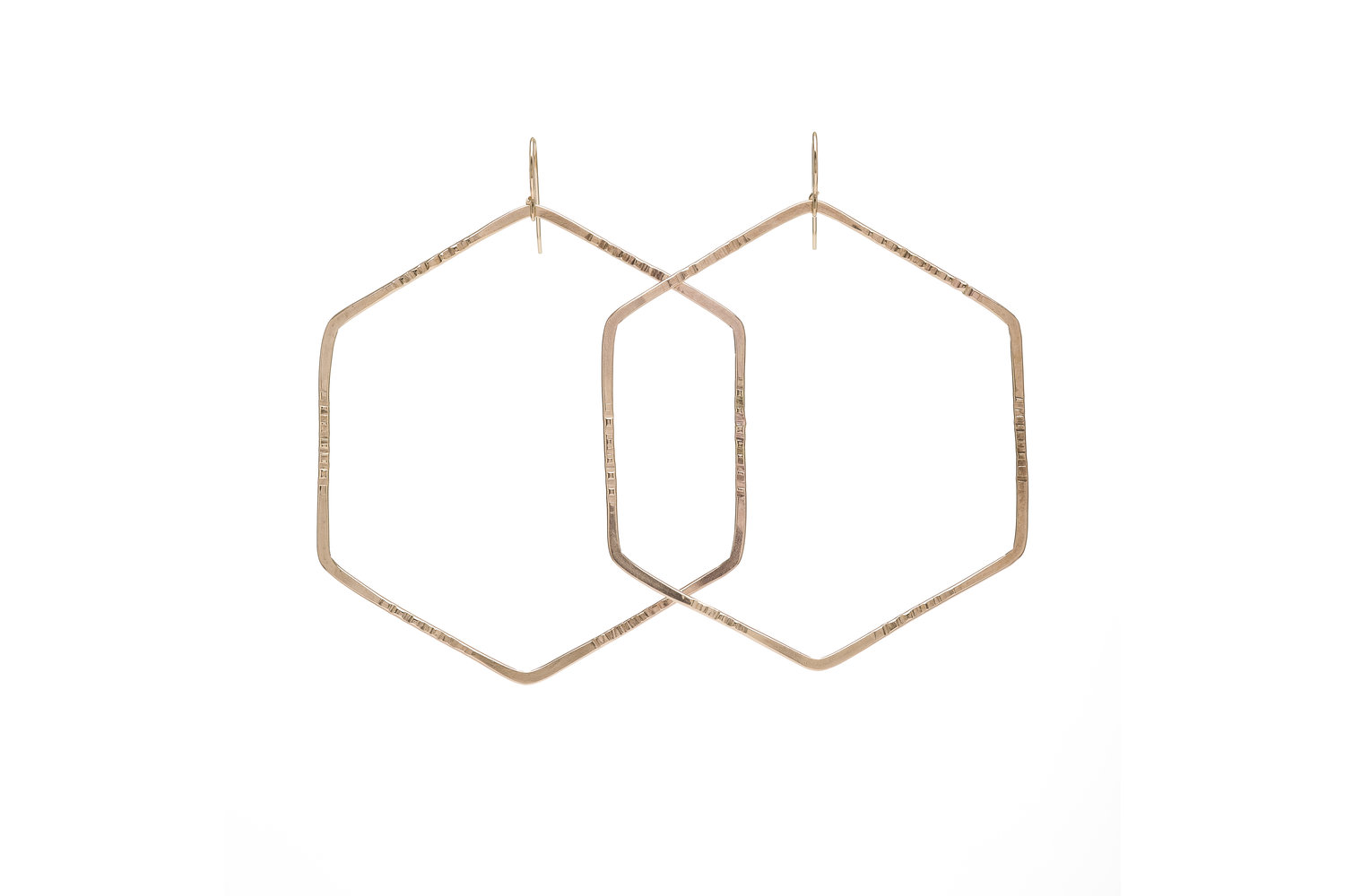 Hexagon Hoops - Geometric shapes, like hexagons, consistently play a large role in Kenda Kist Jewelry.