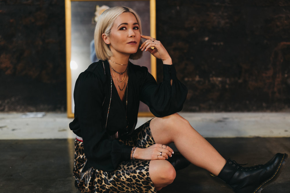 Megan wears the twisted neck wire,  the Janis , and  the Gwen