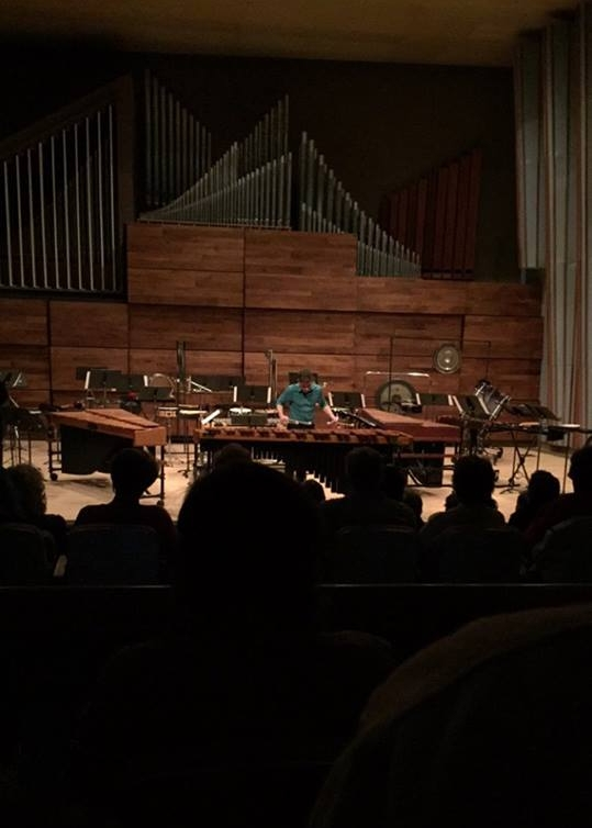 From a performance of Land at Wright State University's Schuster Hall