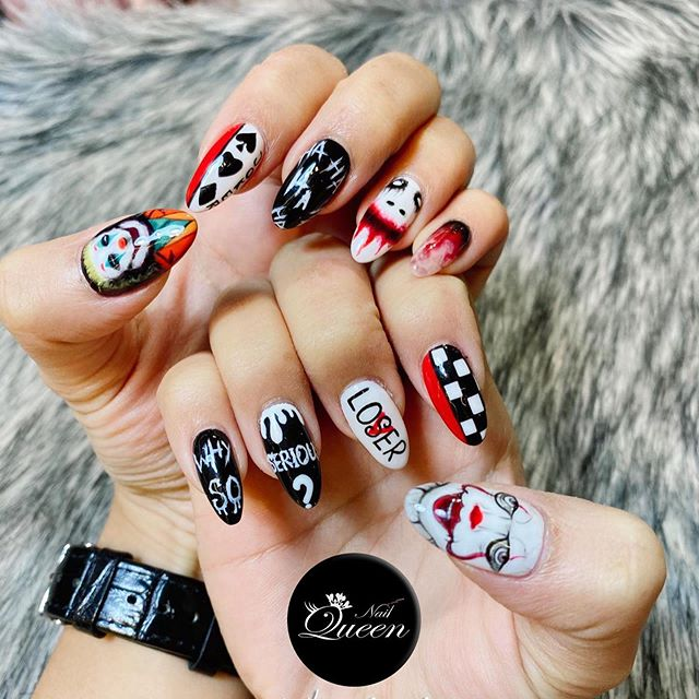Are you ready for Halloween? 👻 Do you dare to don these nails? *evil laughs* 🧙‍♀️ 🧙‍♂️ Ps. All nail arts are handdrawn and not stickers thus please be prepared to spent a longer time when request for nail arts. 🤗 😍 #jokernails #jokernailart #joker2019 #pennywisenails #nails #nailart #nailqueenfep #nailqueendesign #sgnail #sgnails #sgnailsalon #fareastplaza #0488 #naildesign #sgnaildesign #sgnailart #designbynailqueen #nailqueenclient #nailsofinstagram #nailstrend #nailstagram #singaporenails #singaporenailsalon #handrawing ✅ Please be informed that Nail Queen have only one outlet in Far East Plaza Singapore nearby Orchard area, 📍unit #04-88 and nowhere else. 😊 🤳 Check us out on our FaceBook and our Instagram at NailQueenfep today! Our website is www.nailqueenfep.com  To find out more text or call +65 8742 5789 💅💕🍀