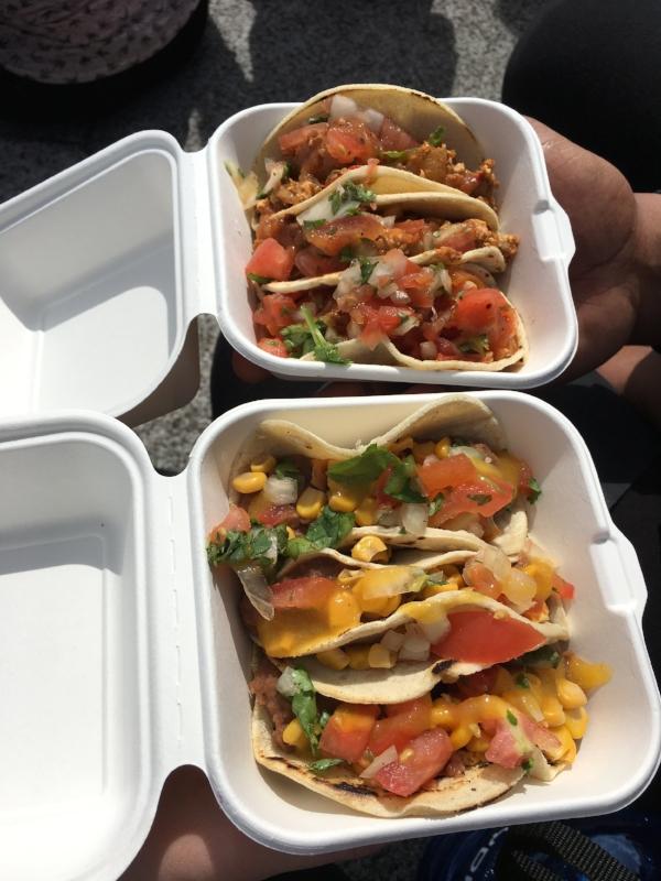 The trio of vegan tacos from El Marchador Tacos - holy guacamole were they good!