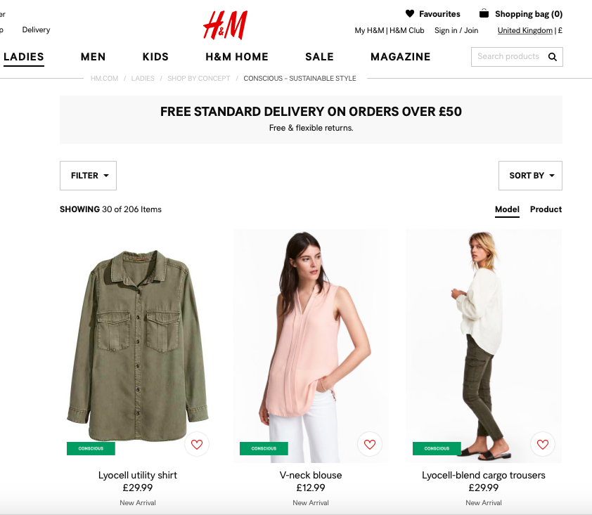 H+M  launched their Conscious collection in 2012 highlighting all products made out of sustainable raw materials and are labeled with a green tag that informs you about the product´s added sustainability value.
