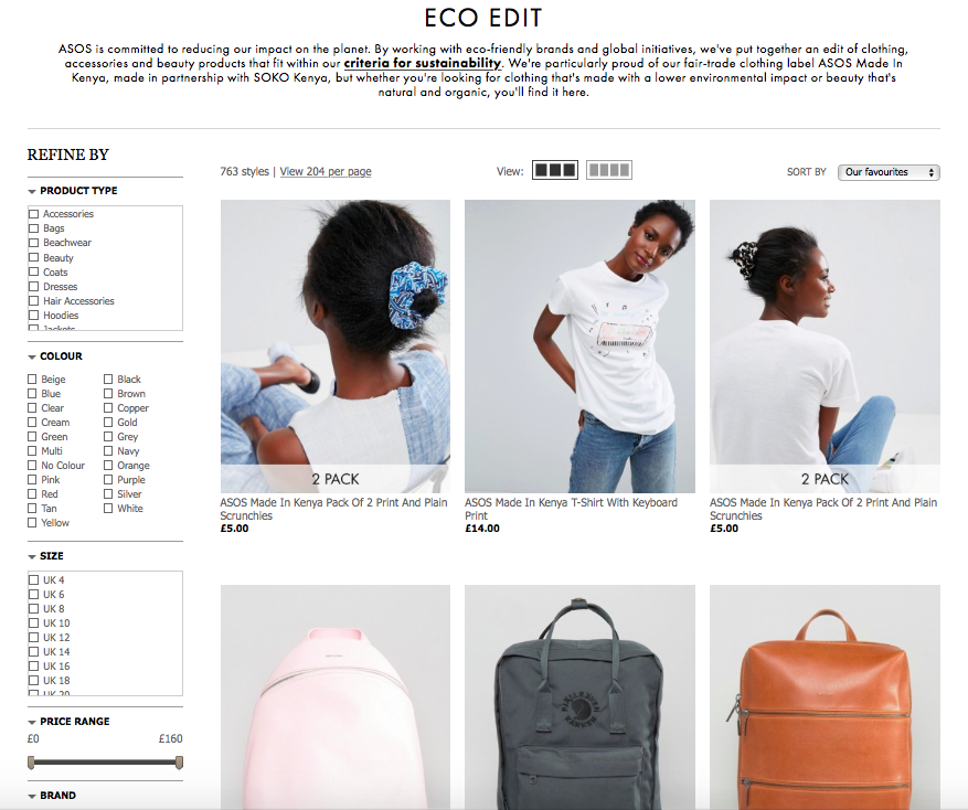 ASOS  (a.k.a love of my life) have an Eco Edit where they've grouped together all the items sold on the site that fit their criteria for sustainability, including clothes, accessories +beauty products