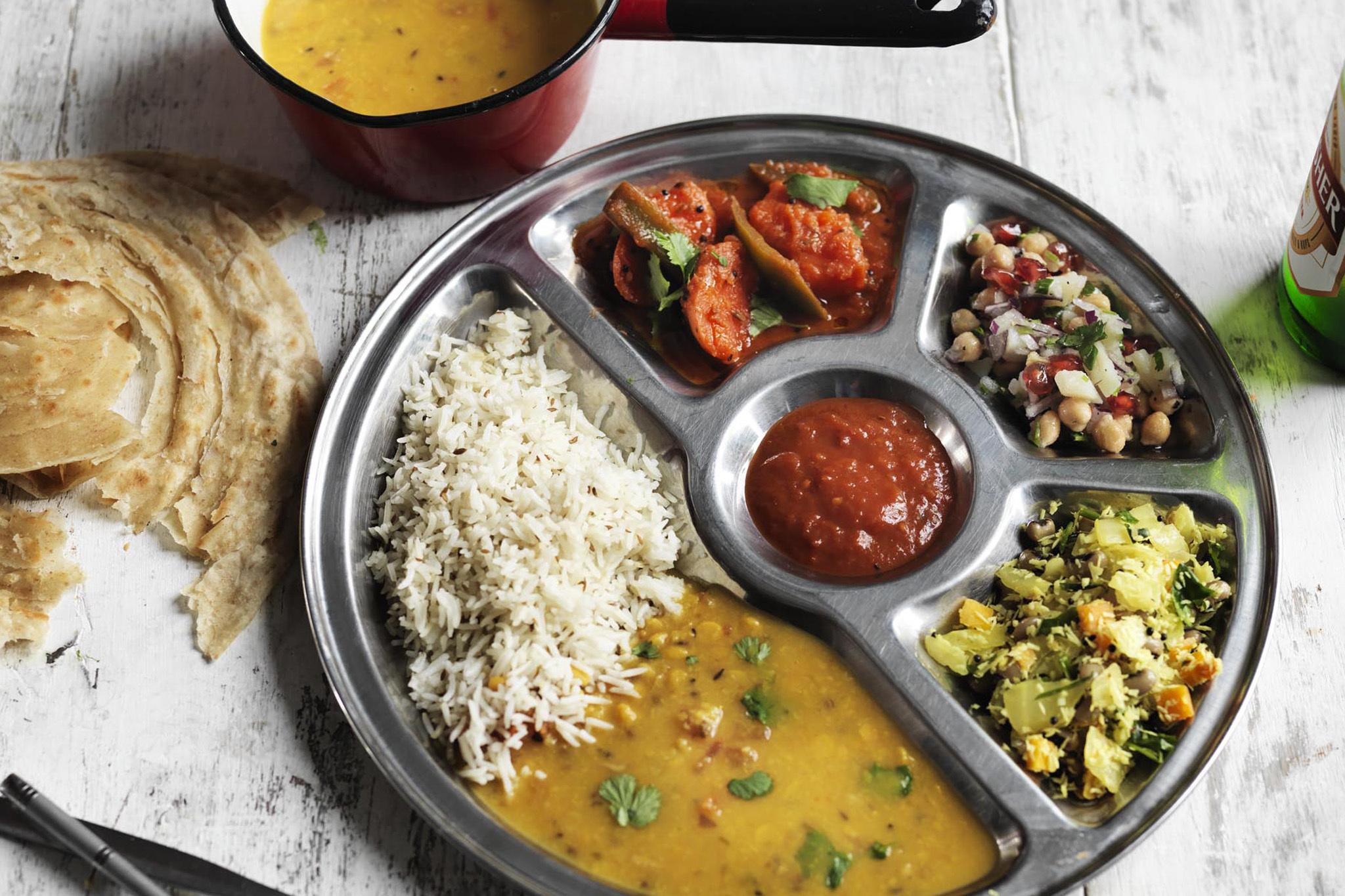Vegan meal at the Thali