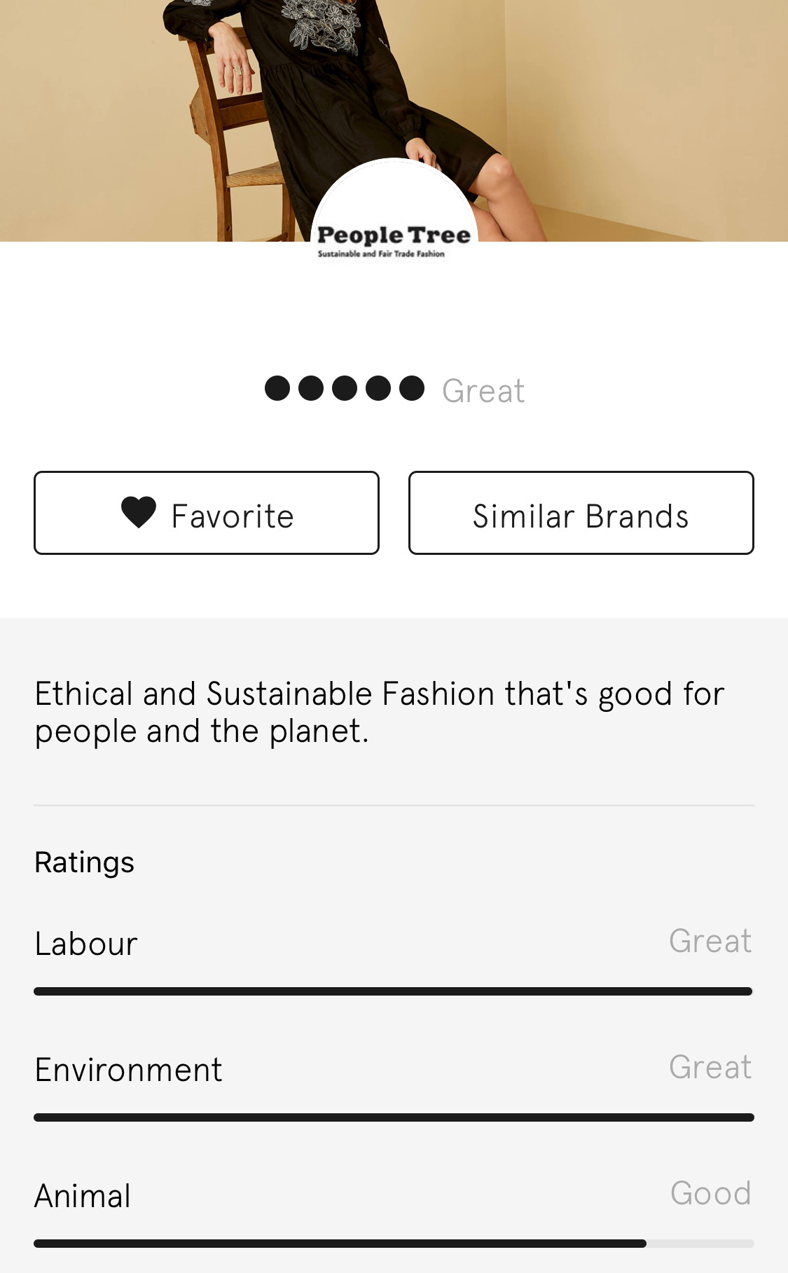 People Tree gets the highest rating on Good on You