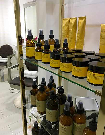 Oway products on display at the salon
