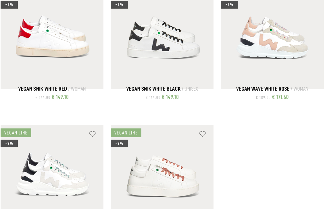 The different sneakers in the vegan line