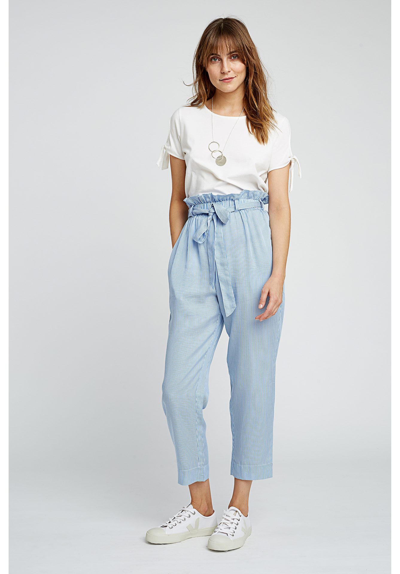 People Tree - have a wide range of trousers, skirts, shorts and leggings that are made from organic cotton and Tencel in loads of cool prints and colours.