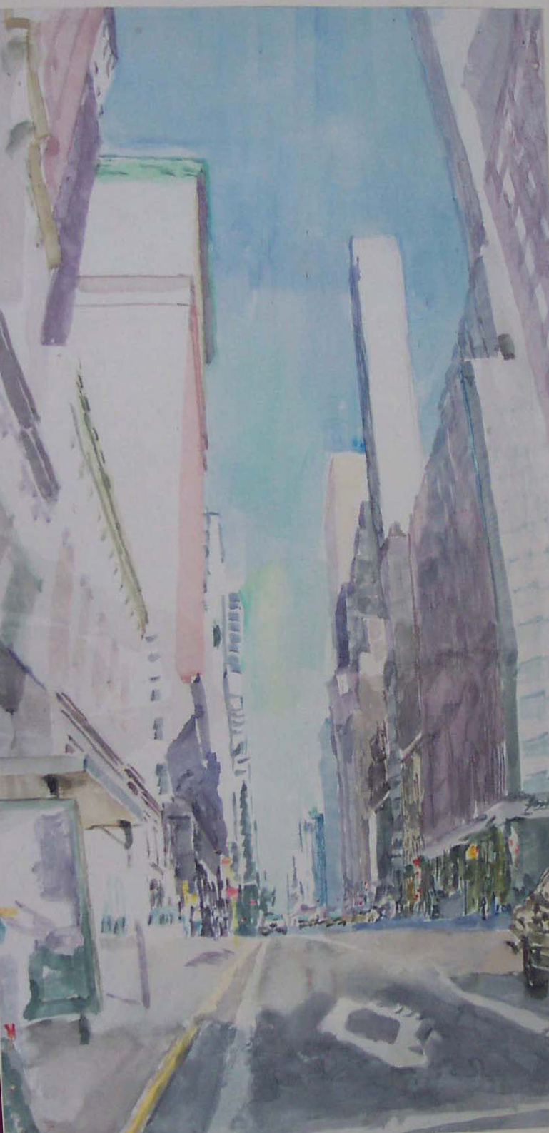 Artist Lucien B. Day Watercolor Painting Cityscape  3rd Avenue in New York City