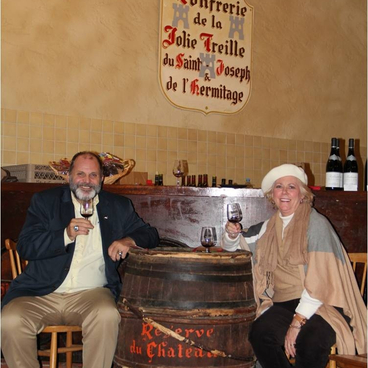 Hank & Anne in Tournon for a great wine tasting on an AmaWaterways Rhone River Cruise