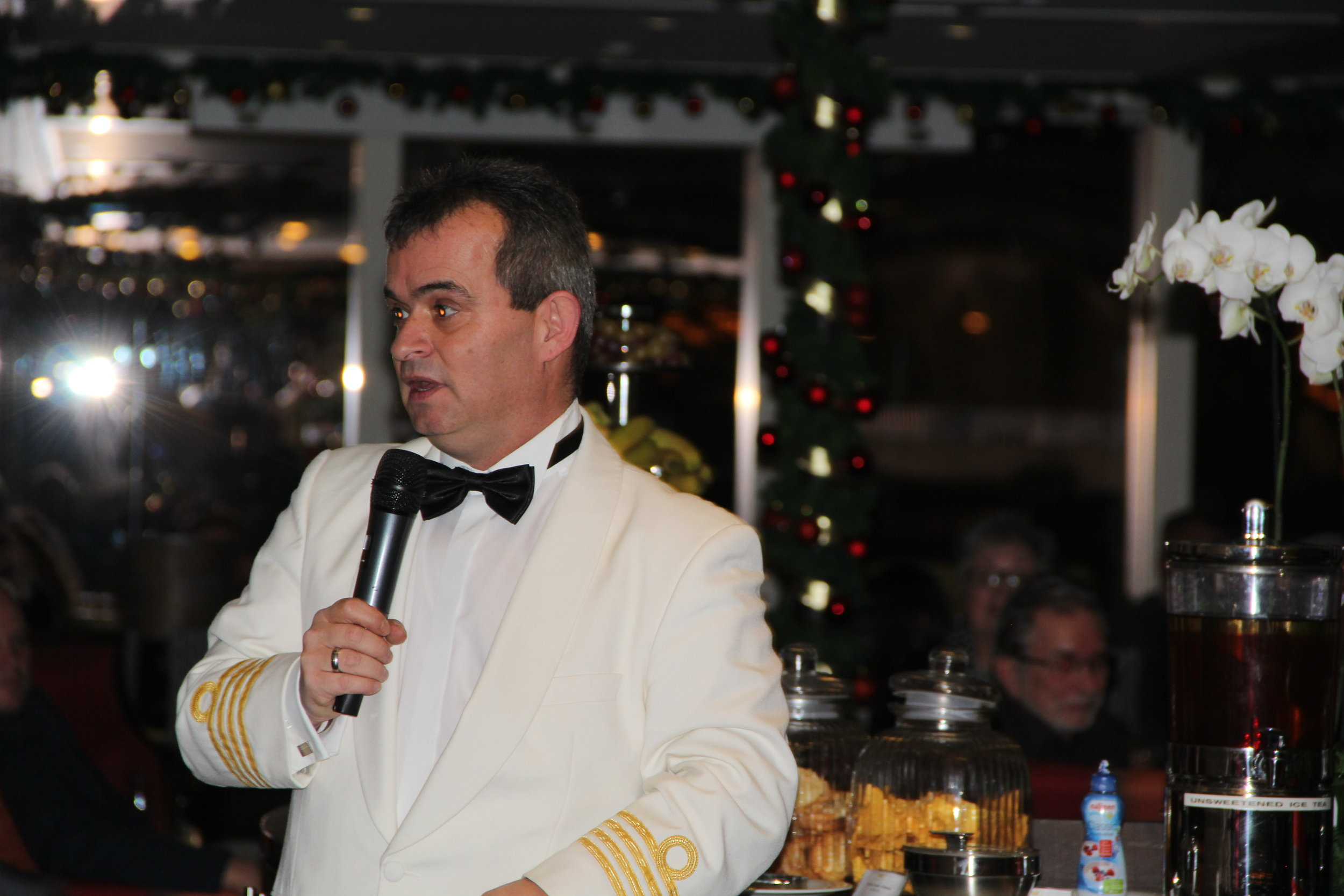 AmaWaterways Captain Giving Safety Briefing