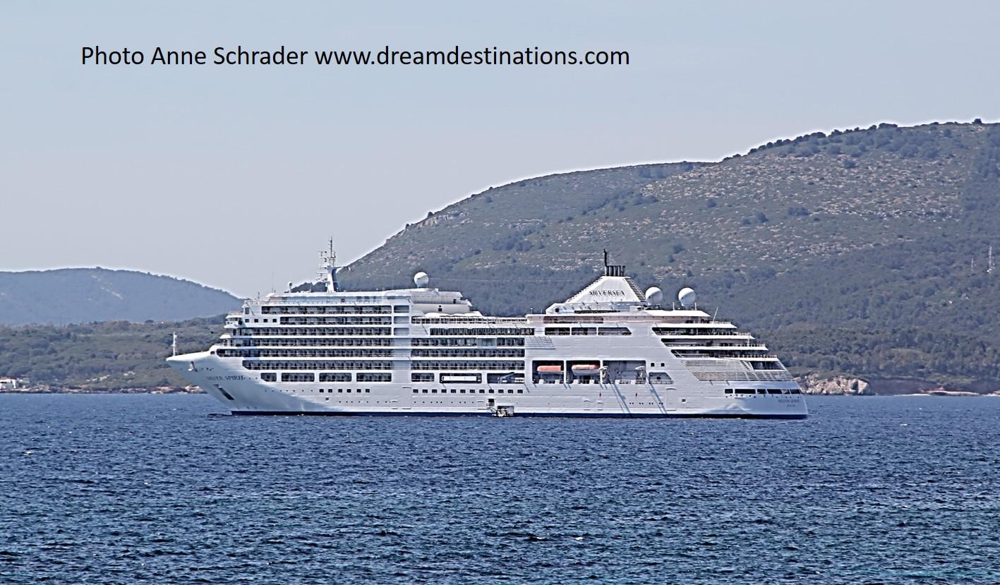 The Silver Spirit cruise ship anchored of Mykonos, Greece
