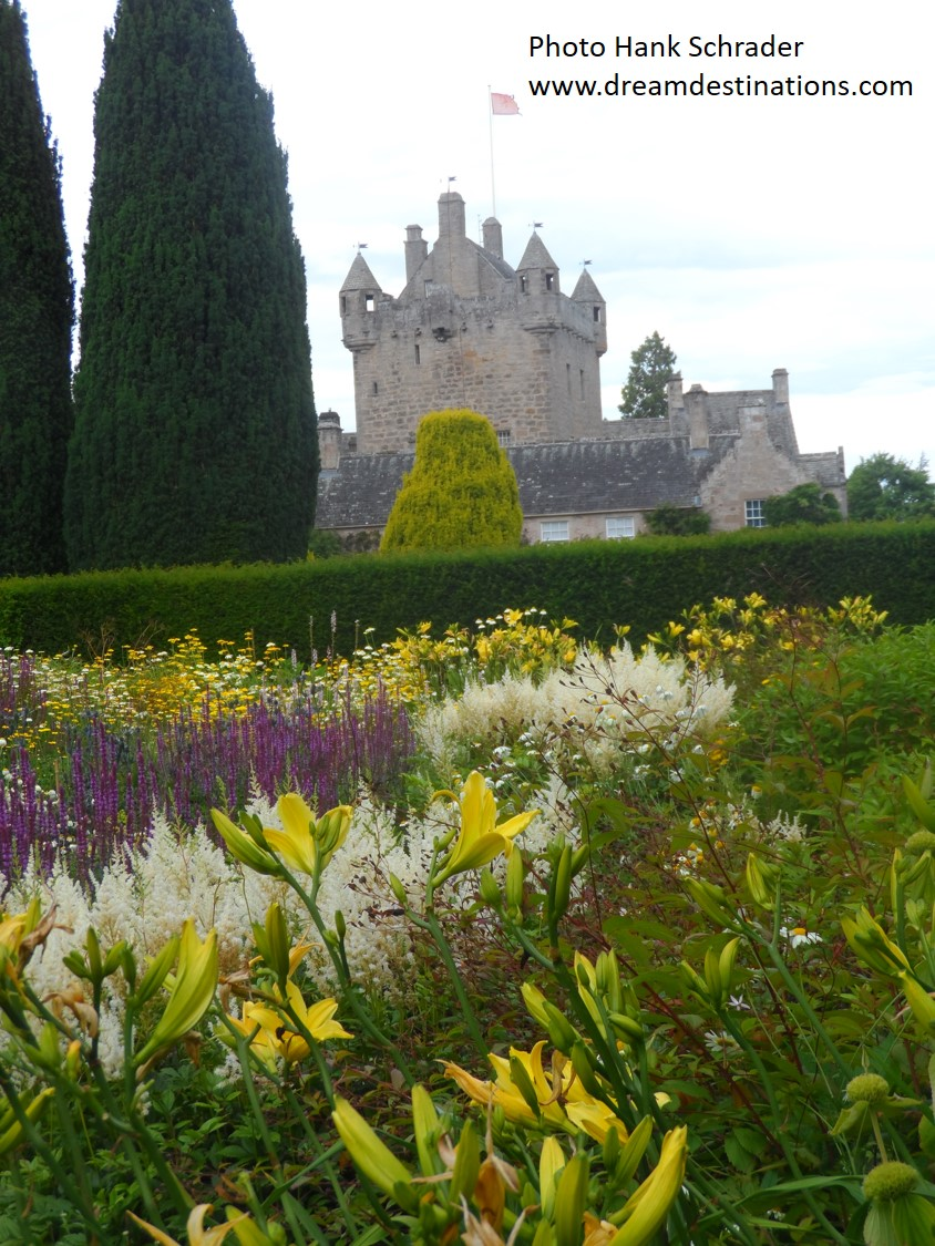 A view of Cawdor Castle from one of the gardens
