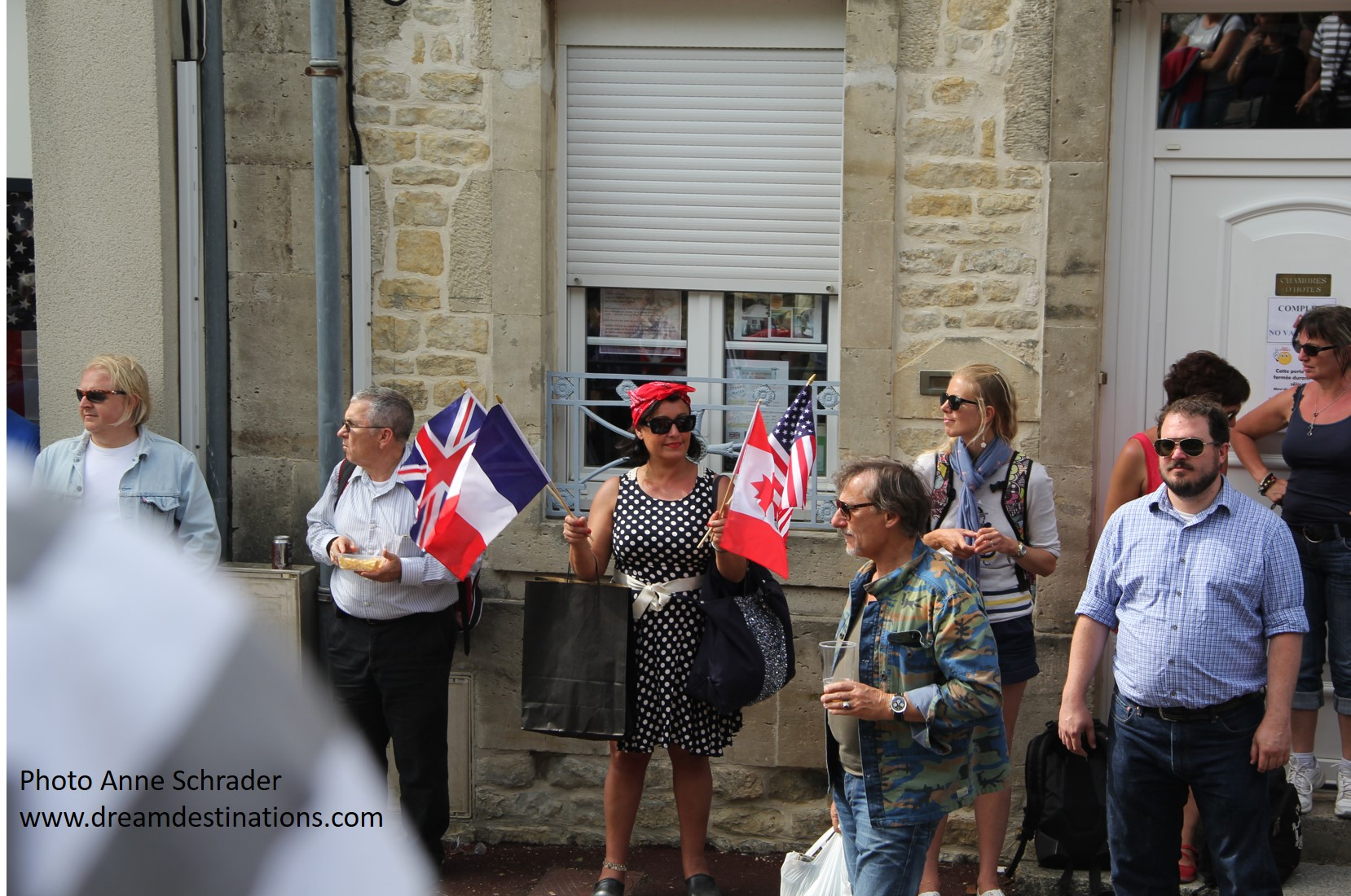 Watching the parade in Ste. Mere Eglise during the D Day Festival on 6 June 2014