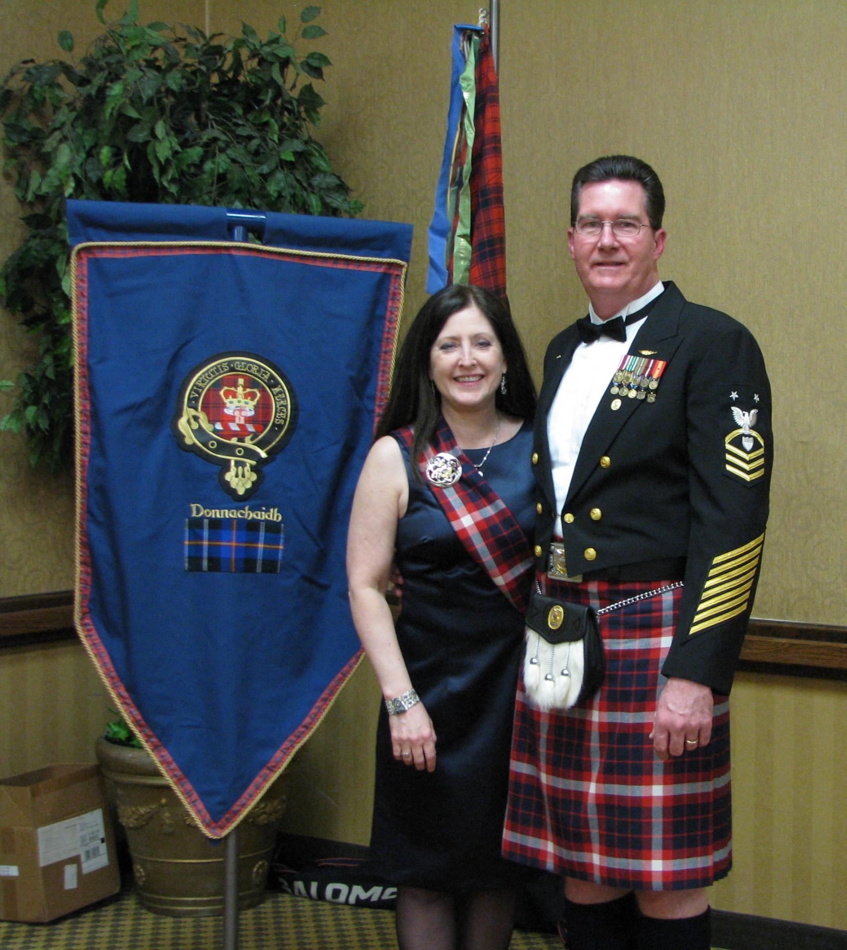 Denise & Mark Thomas in his Coast Guard Dress Mess Uniform & Kilt