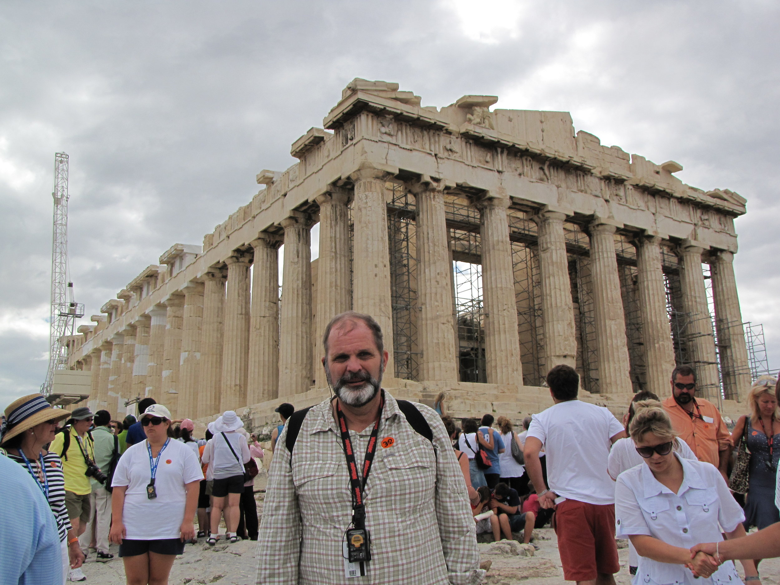 Hard to fake a picture like this on a cruise tour to the Acropolis in Athens, Greece—a good indication we have been there!