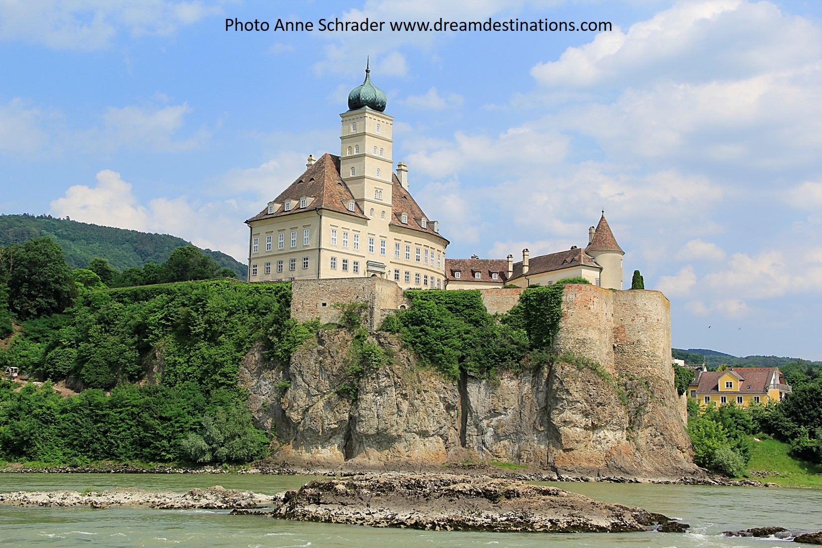 You could never see a castle this clearly from land but it is awe inspiring when you cruise the Danube—Schonbuhl Castle in Austria