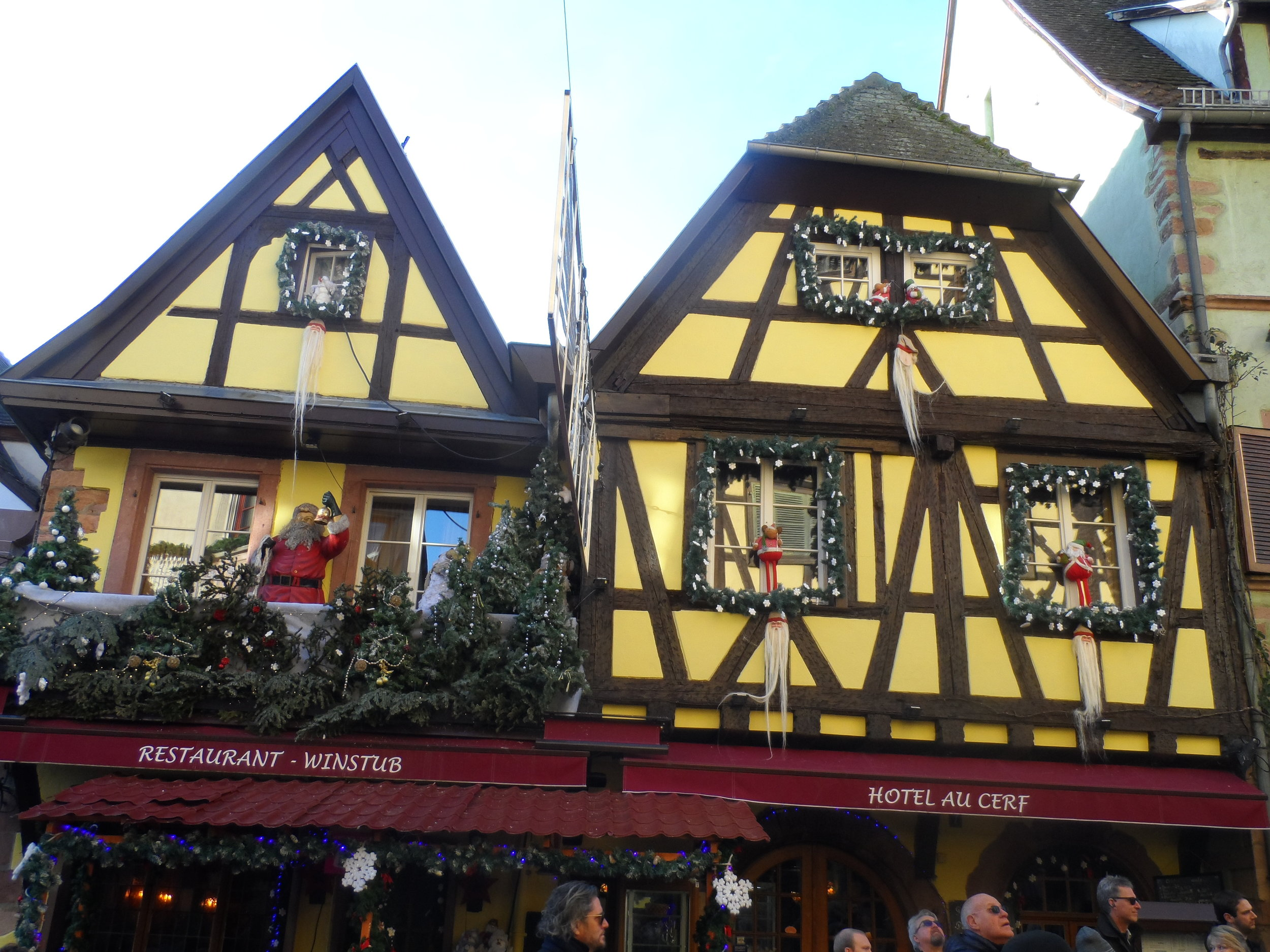 The village of Riquewihr Timber houses decorated for Christmas on our recent 2018 cruise—magical indeed!