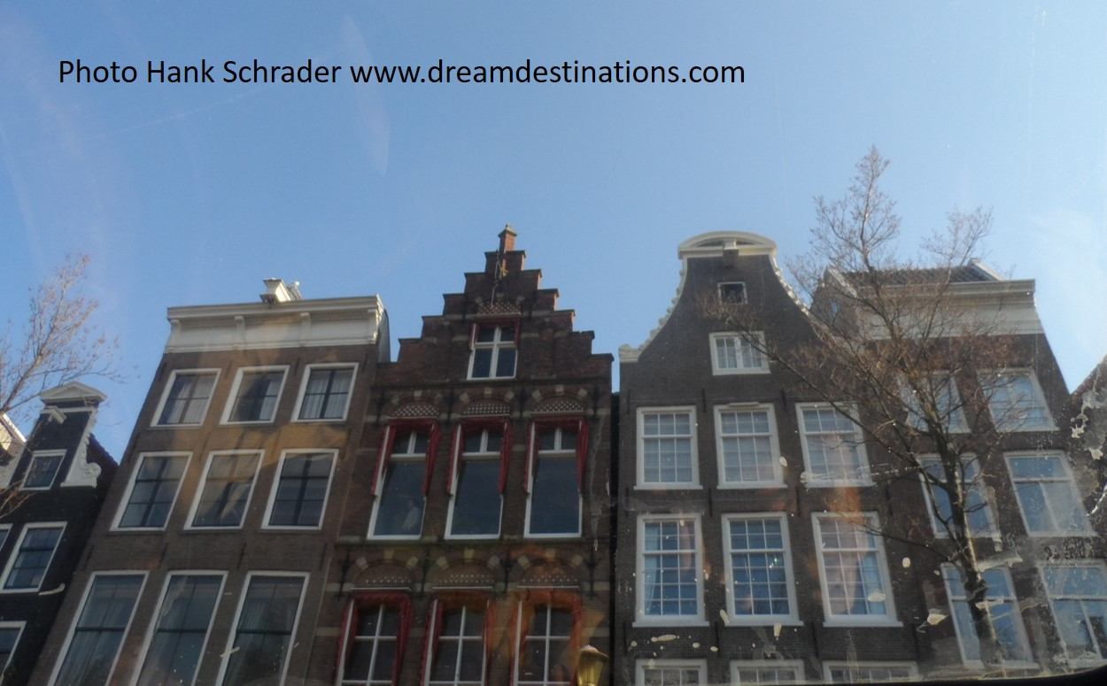A view of 5 rooftop gables in Amsterdam—this photo was taken on a canal cruise tour in 2012.