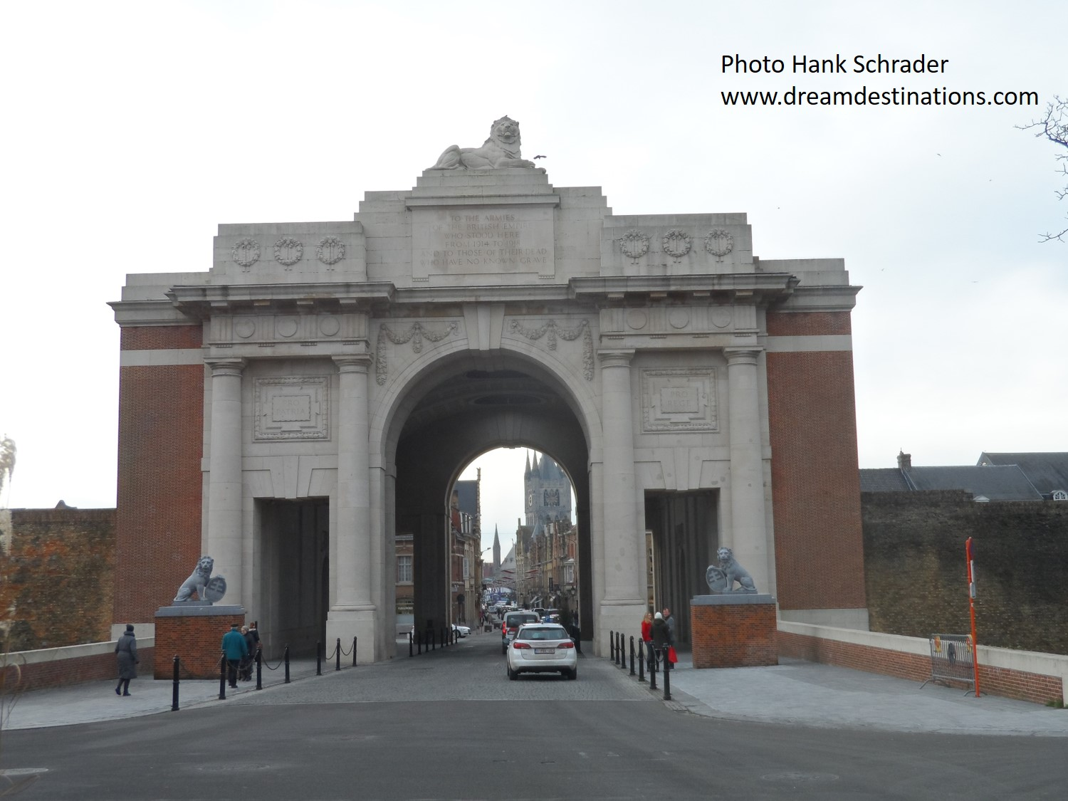 The Menin Gate—the cars and people give you a sense of how large this gate is