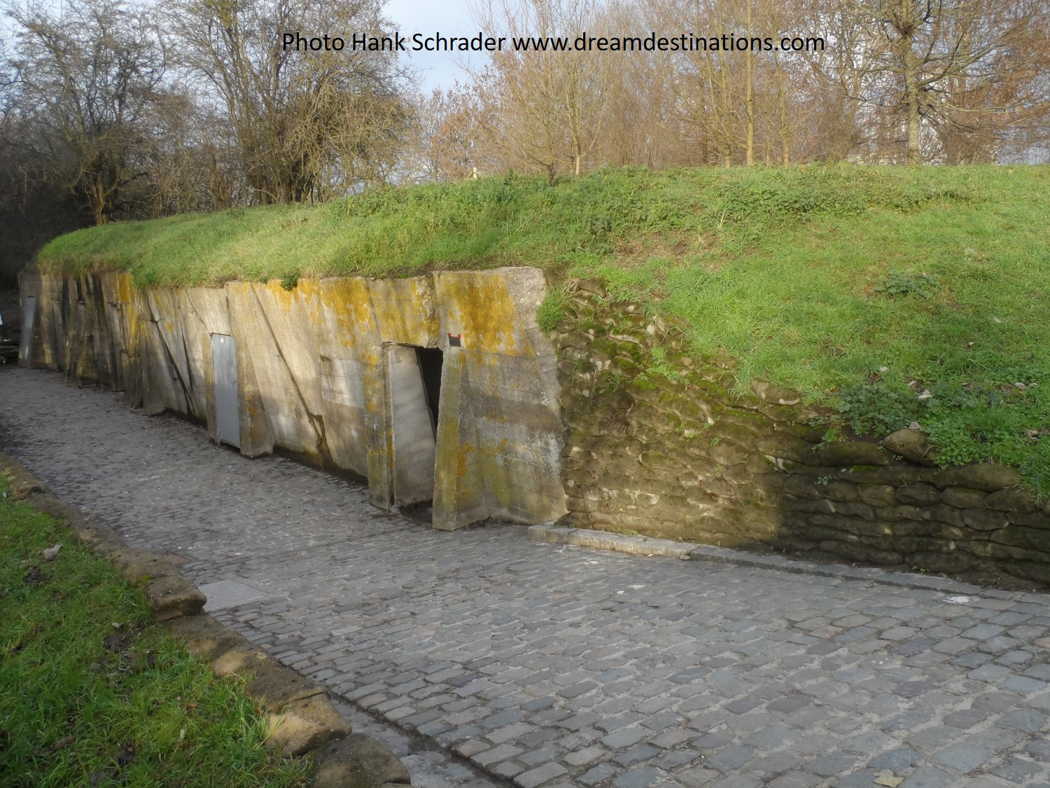 """Concrete shelters of the Advance Dressing Station (A.D.S.) where LTC John McCrae, a doctor, wrote the poem """"In Flanders Field"""""""