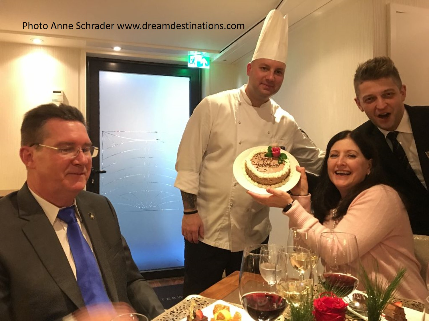 Denise Thomas celebrates her birthday with a special cake in the Chef's Table