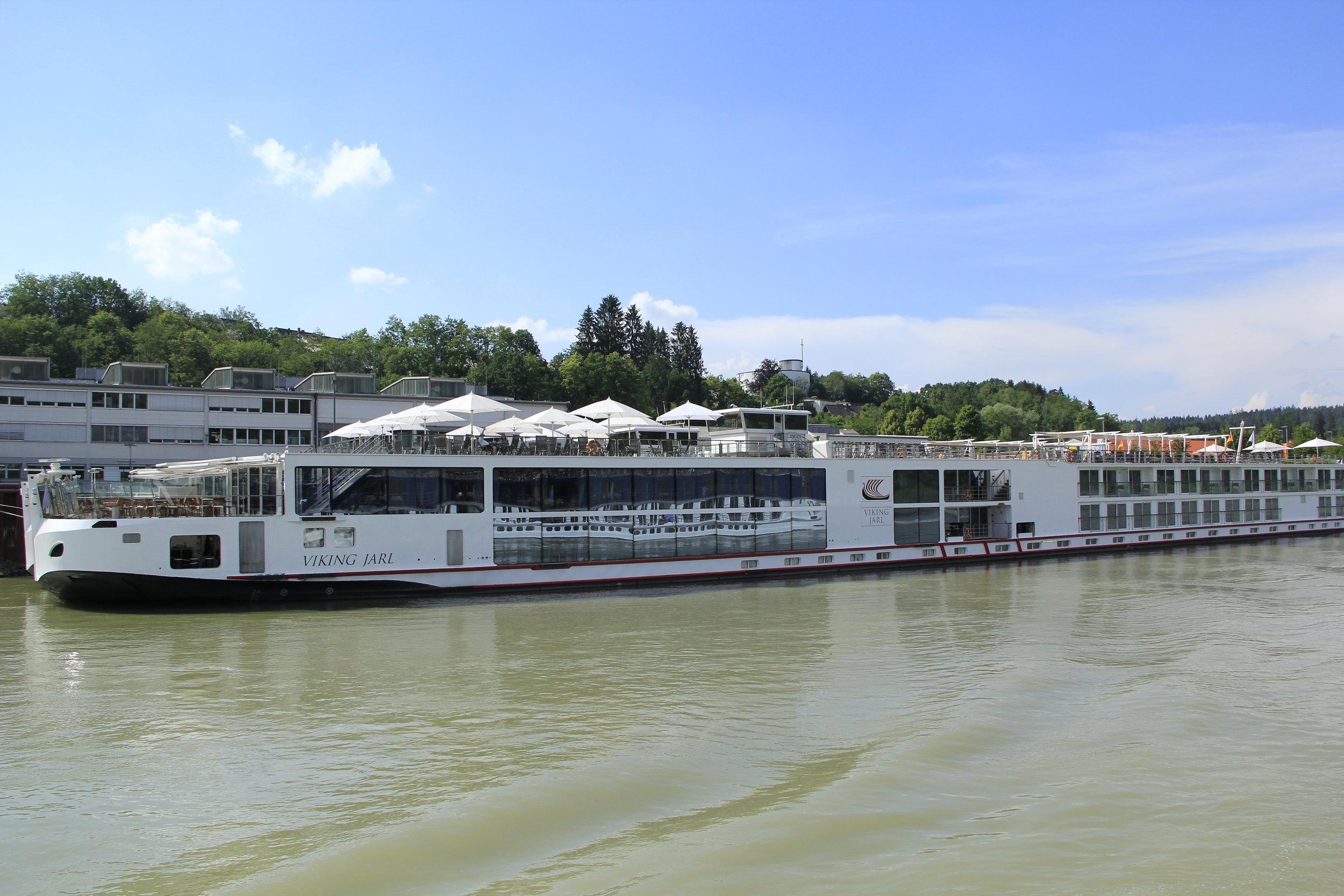 The Viking Jarl in port in Regensburg, Germany