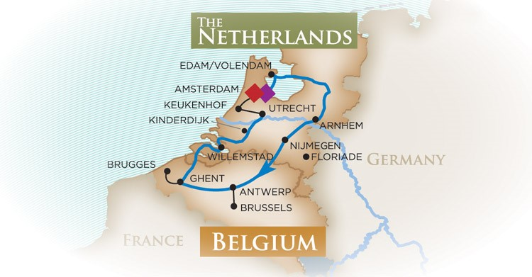Lower Rhine Northern Loop Route of Tulip Time Map from AmaWaterways