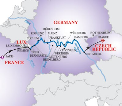 Middle Rhine and Main starting on the Mosel River and ending on the Main-Danube Canal. Route Map from AmaWaterways