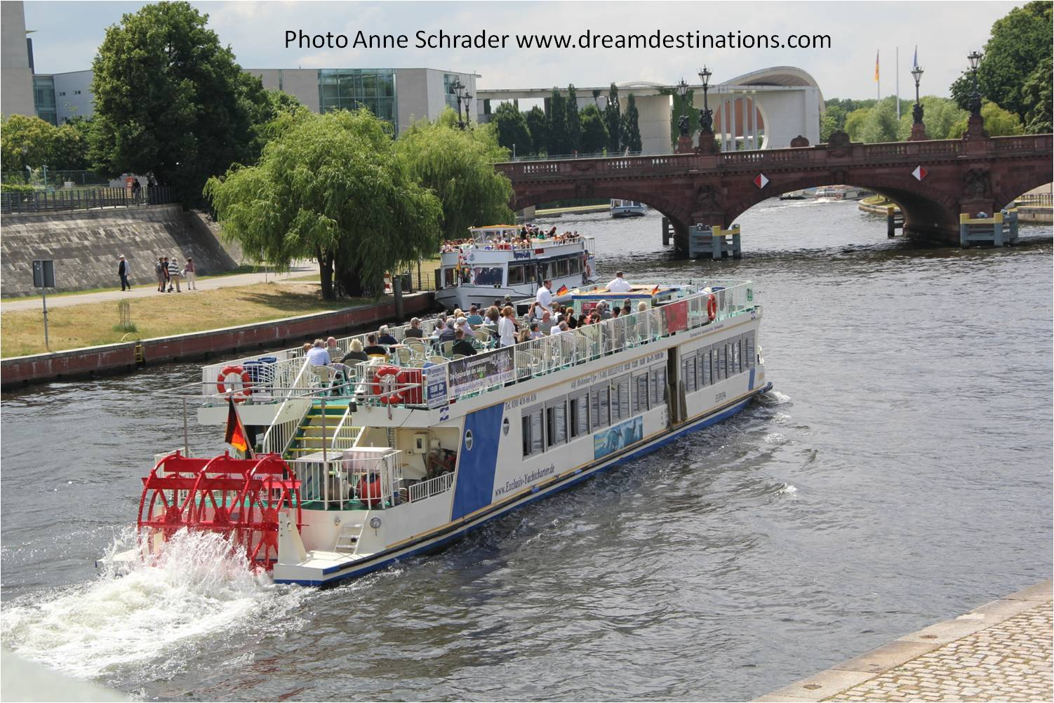 This paddle wheel boat is in Berlin, Germany but very similar to one used by CroisiEurope on the Elbe River.