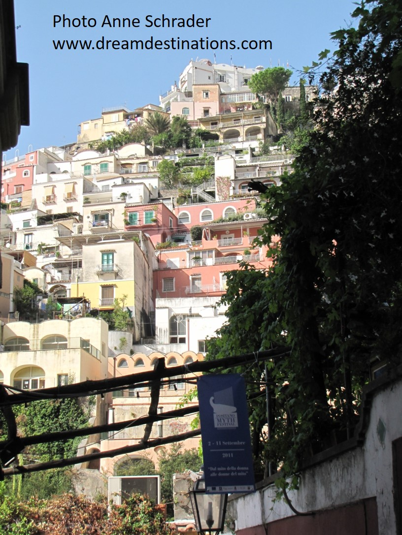 The steep, colorful buildings of Positano