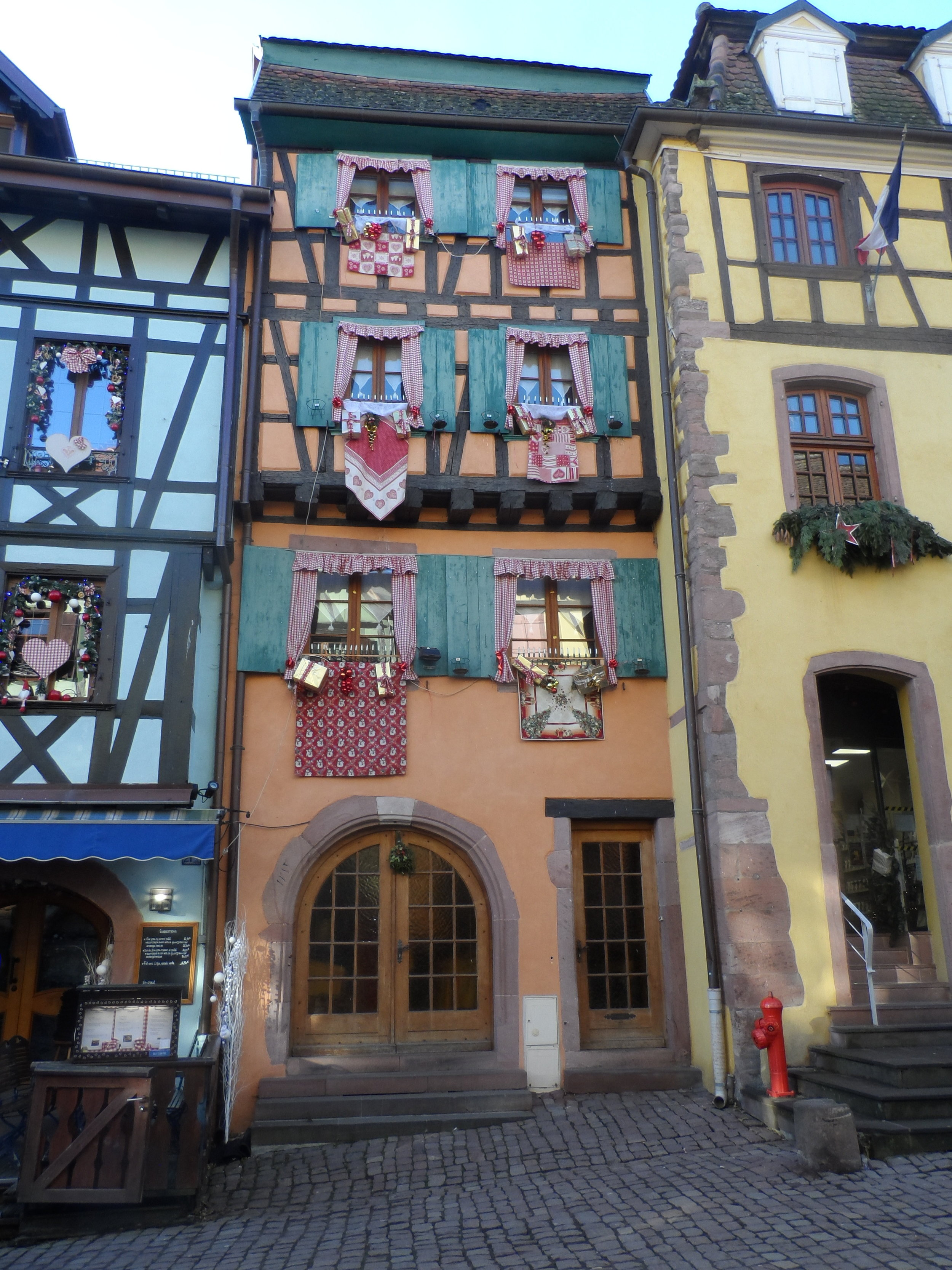 Windows all dressed up for Christmas in Riquewihr, France