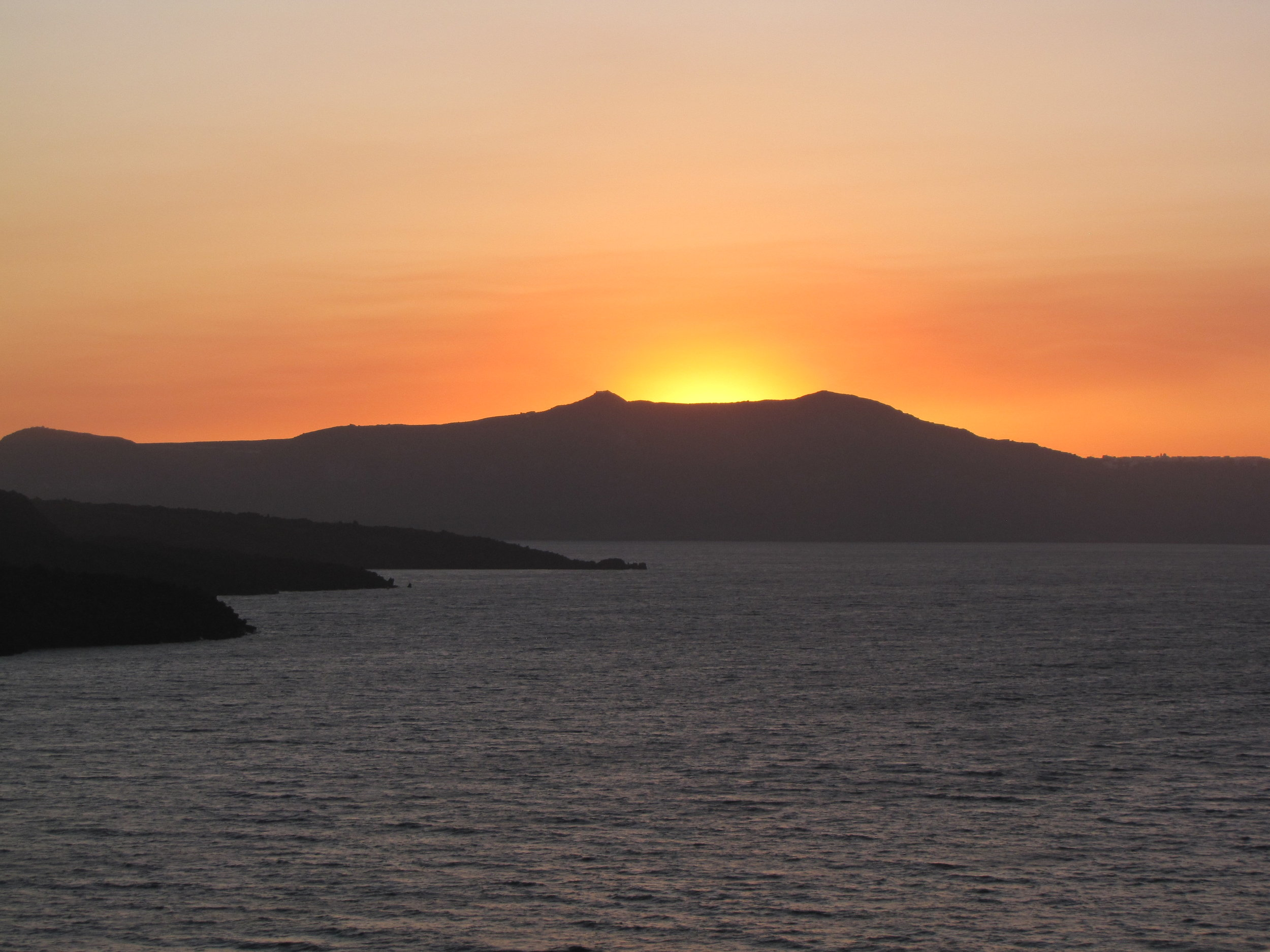 Maybe the best sunset in the world—this is the view from Santorini!