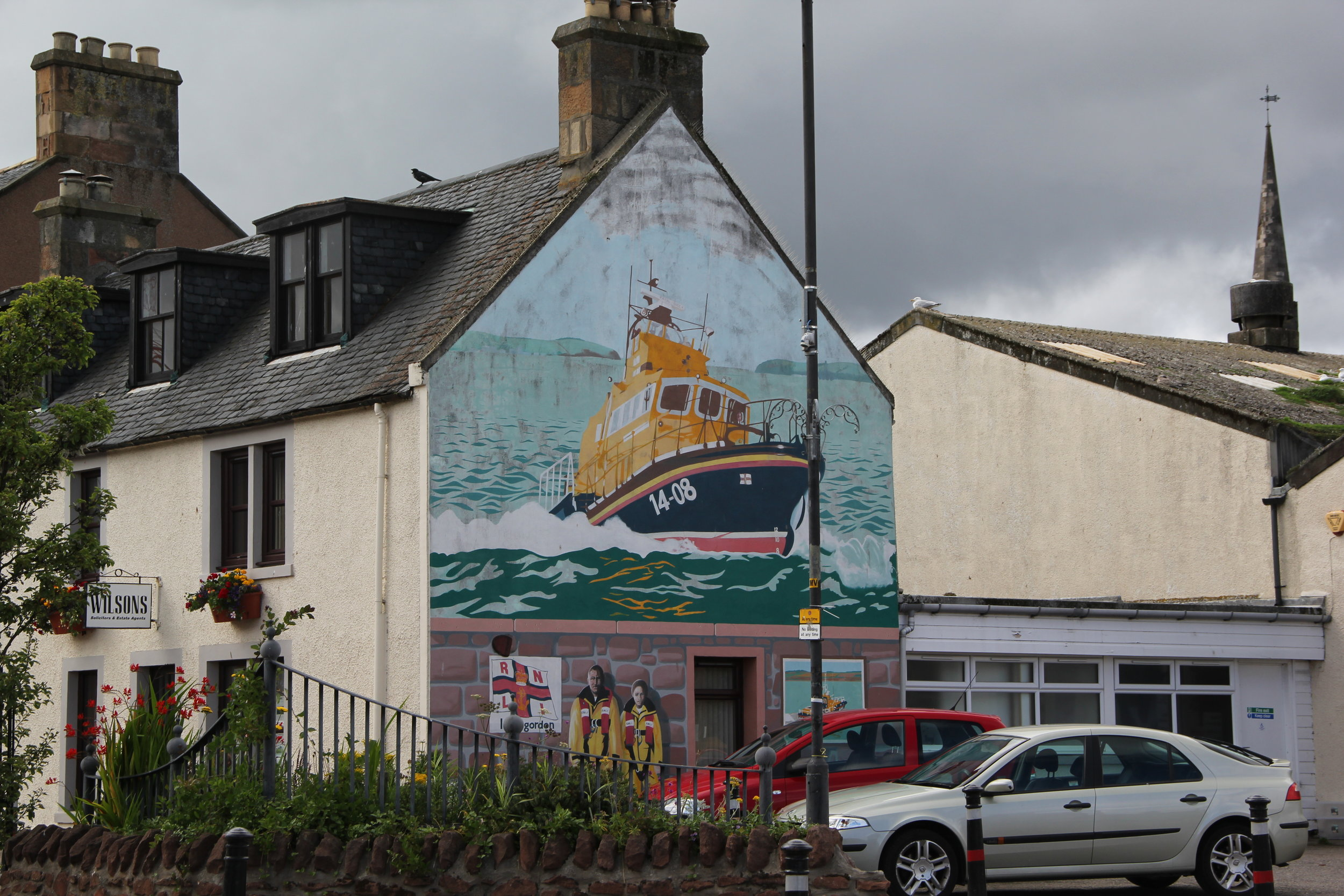 Volunteer Special some of the rescue scenes and the Tugboat Mural, Invergordon, Scotland