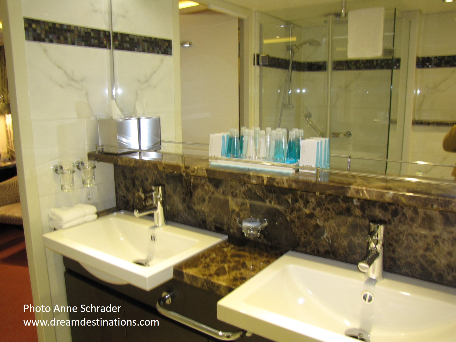 Twin Sinks of a Suite on the AmaCerto—luxury to me on the river!