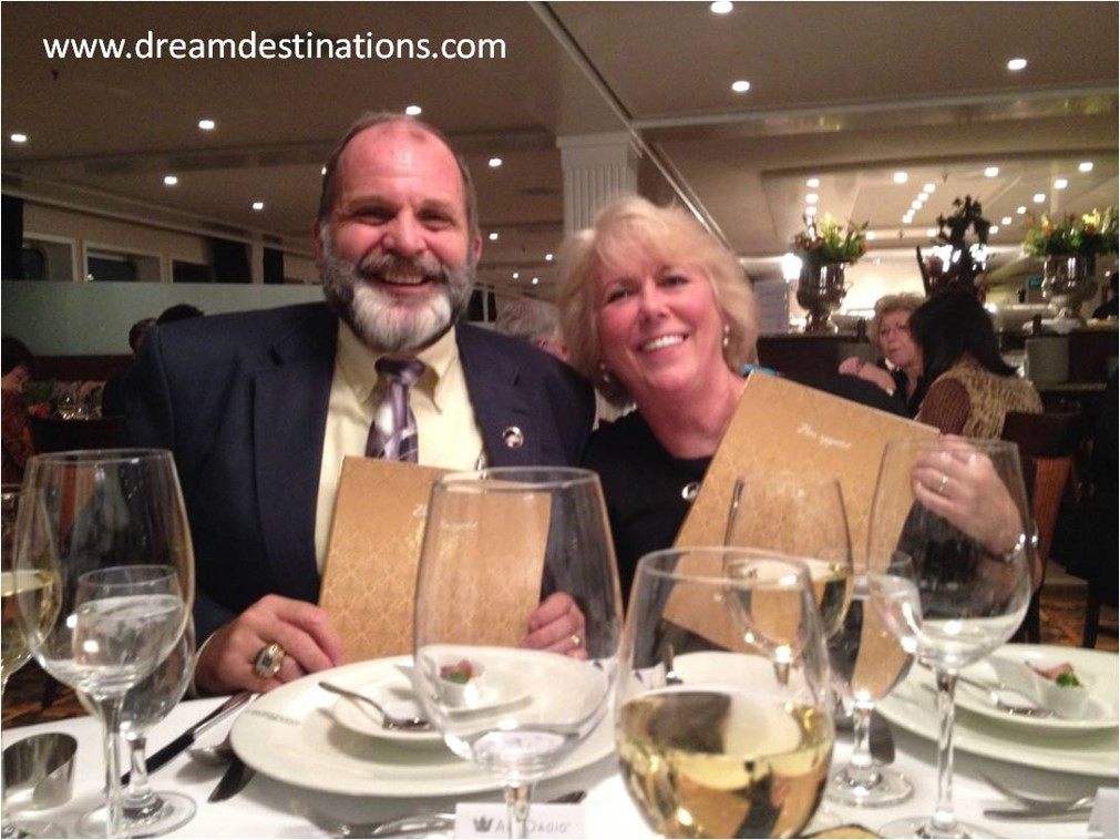Anne & Hank at the Captain's Dinner Table—by far, the most dressed up we would be on a Europe River Cruise