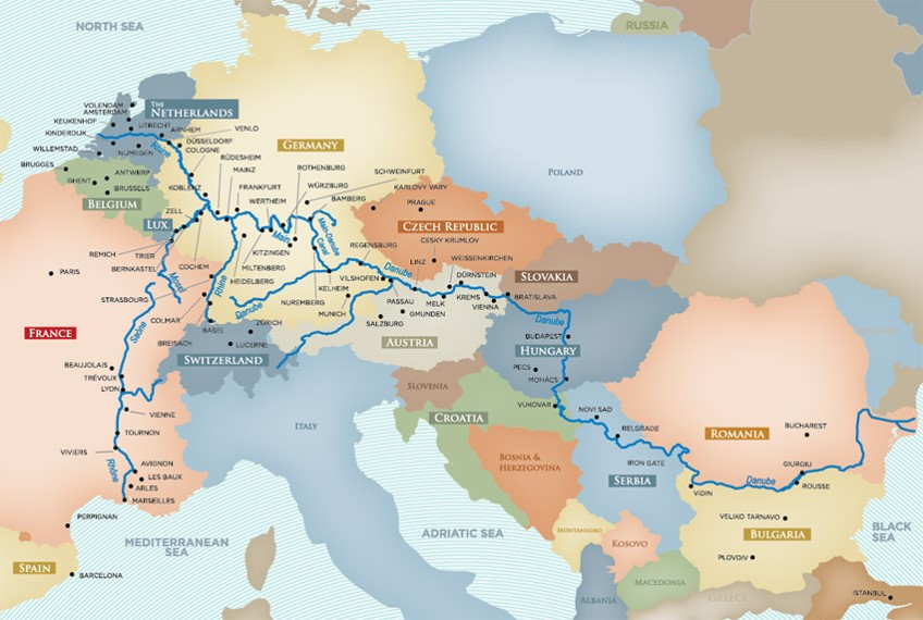Europe Rivers—you get to sail through countries instead of to a country on a big ocean cruise ship. Map courtesy of AmaWaterways