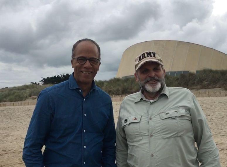 Lester Holt (NBC Anchor) and Hank at Utah Beach 5 June 2019