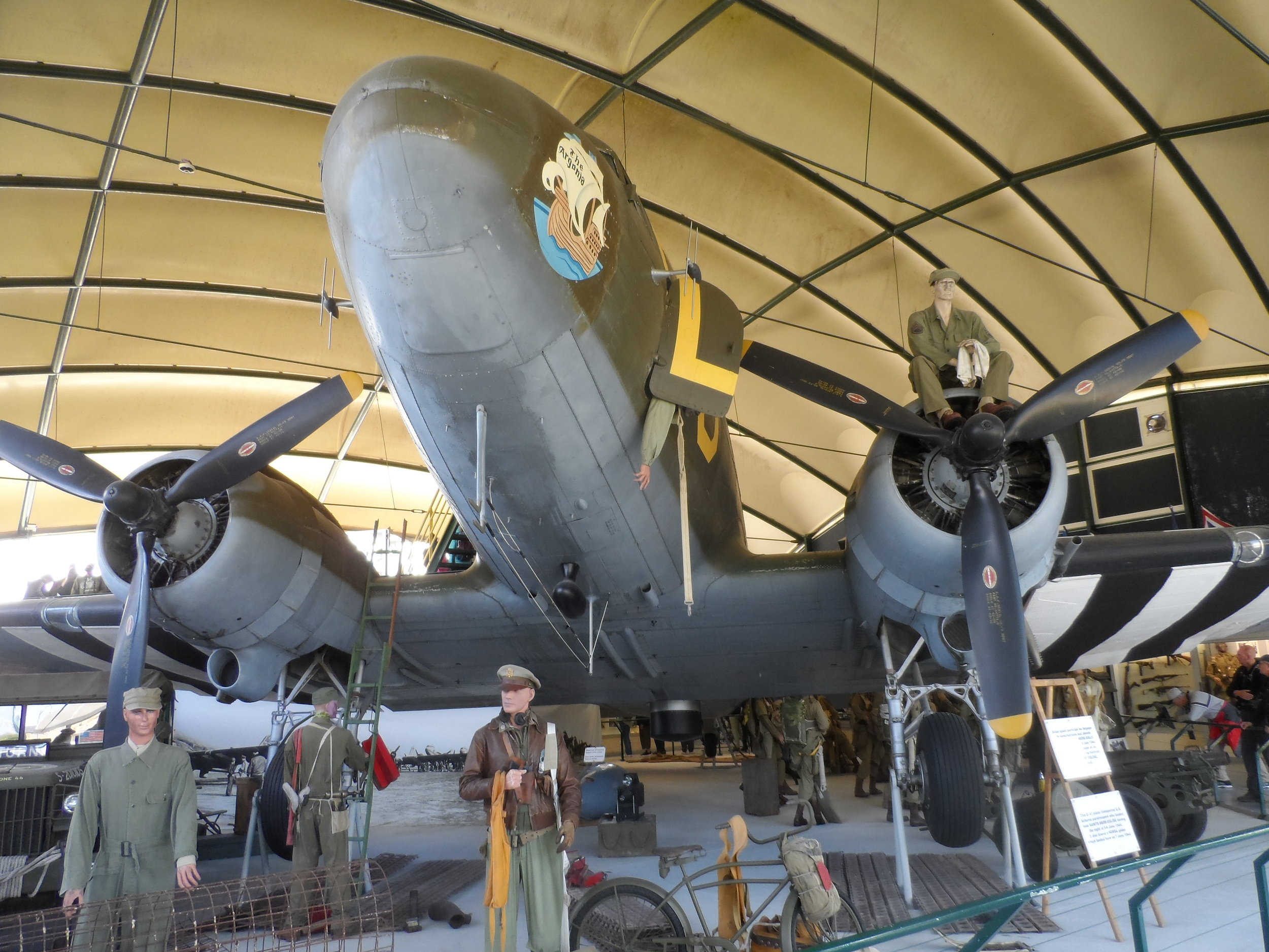 C 47 replica on display at the Airborne Museum in Ste. Mere Eglise—this is the plane most soldiers jumped from on D Day