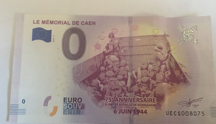 Souvenir Euro from our visit to Caen Memorial Museum—a gift from Mark Thomas