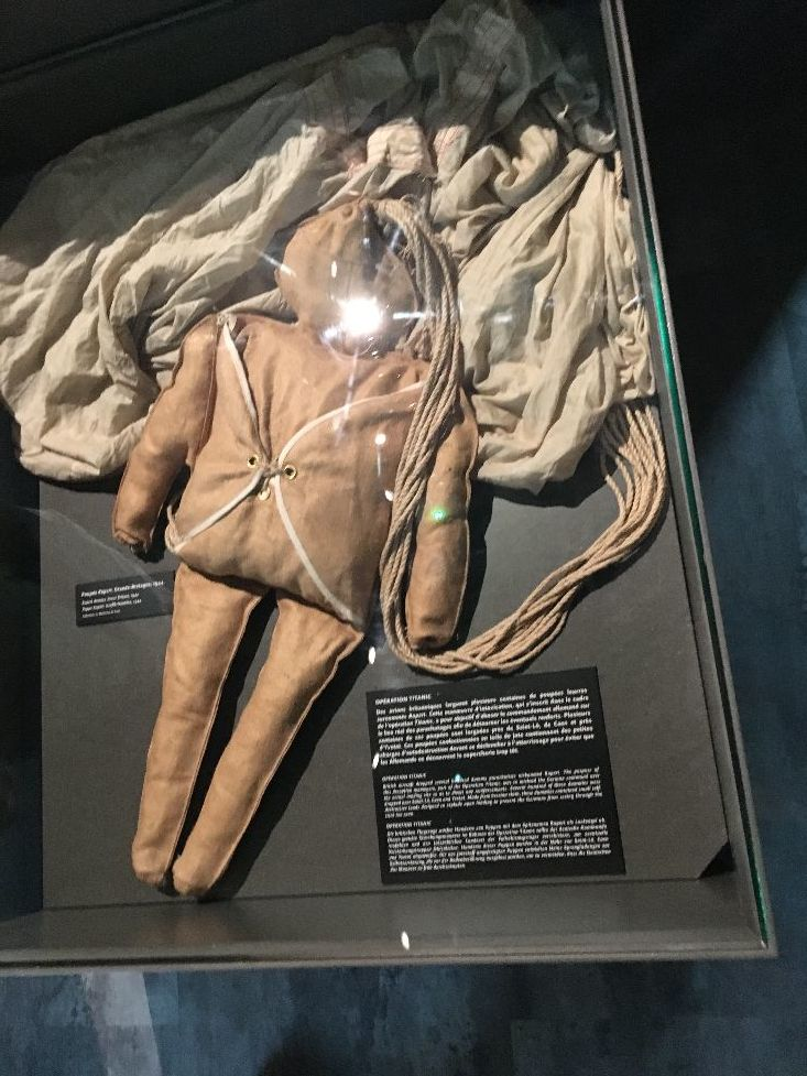 Dummy Paratrooper dropped during D Day Invasion in the Caen Memorial Museum 2019
