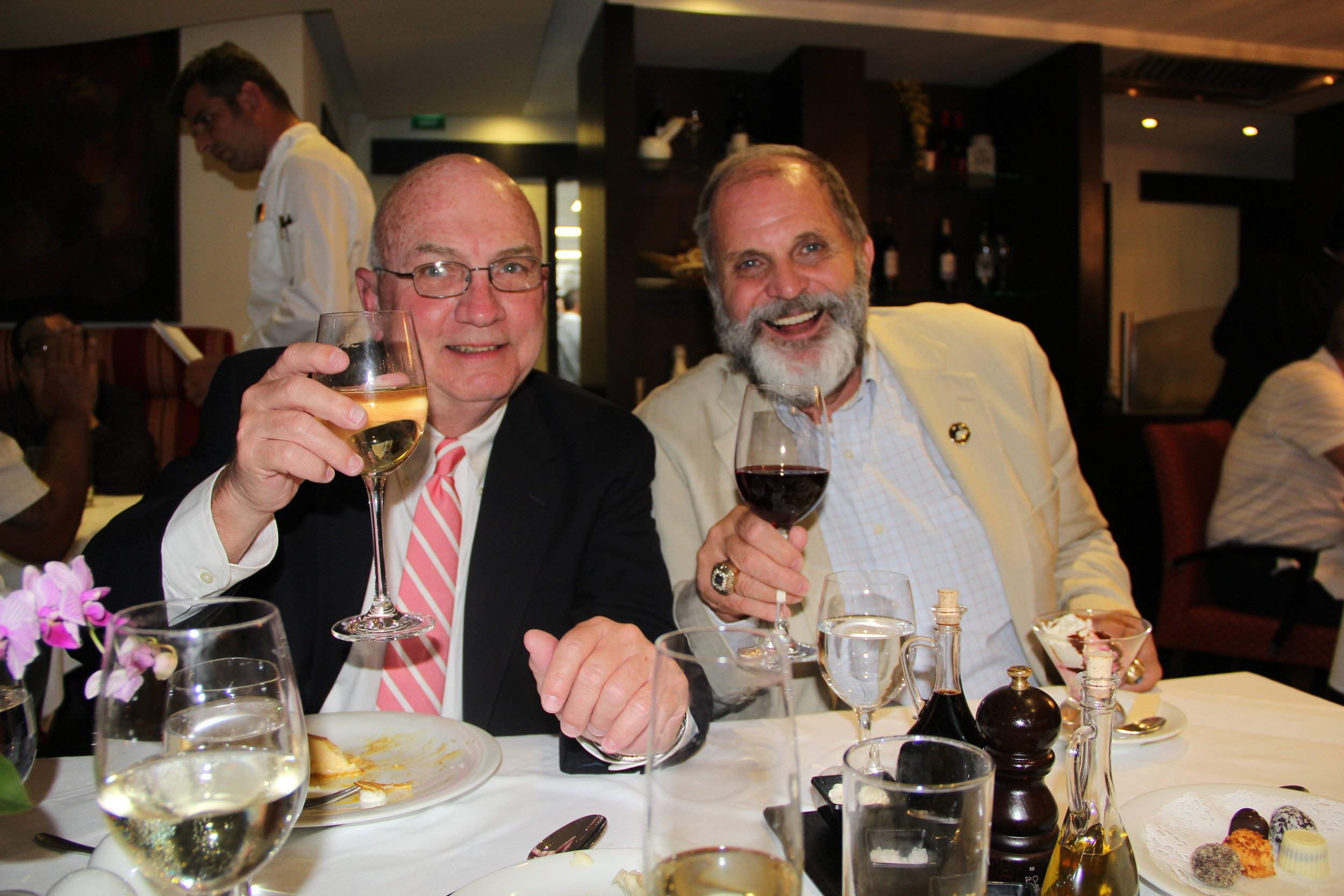 Jeff (my West Point classmate) and Hank share a glass of wine on an Amawaterways cruise 2018