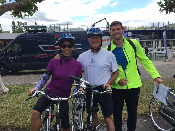 Our clients Jane and Len with wellness instructor Marcello getting ready for a bike ride on an AmaWaterways cruise 2019