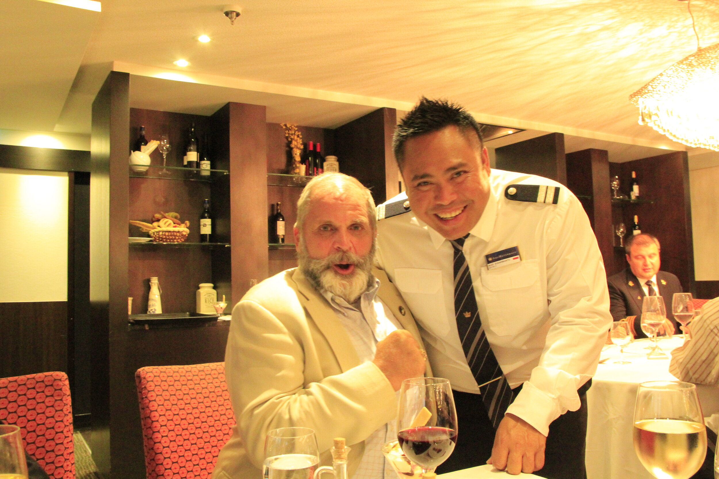 Hank and a staff member on a 2018 AmaWaterways cruise