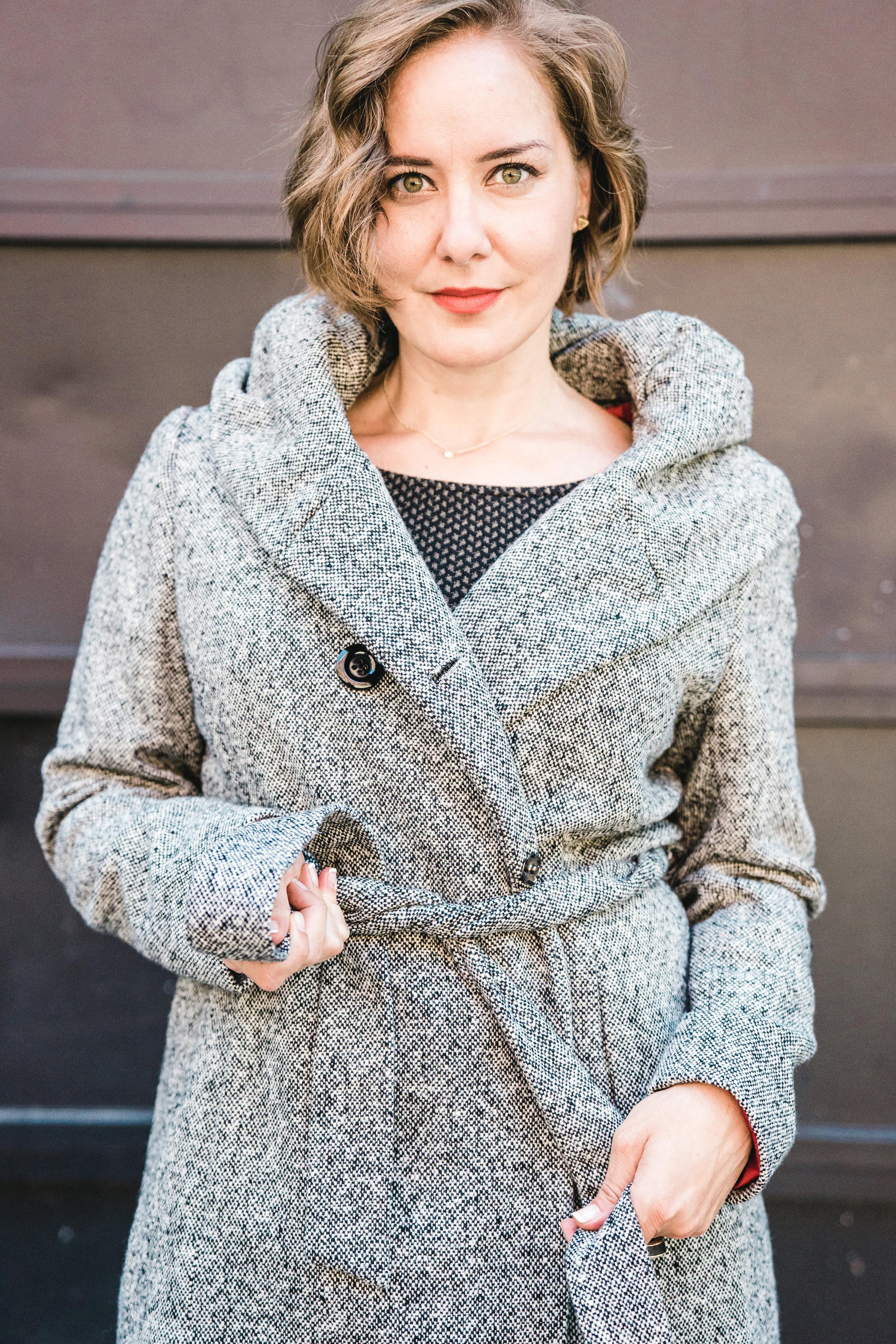 gray coat with hood ($130)