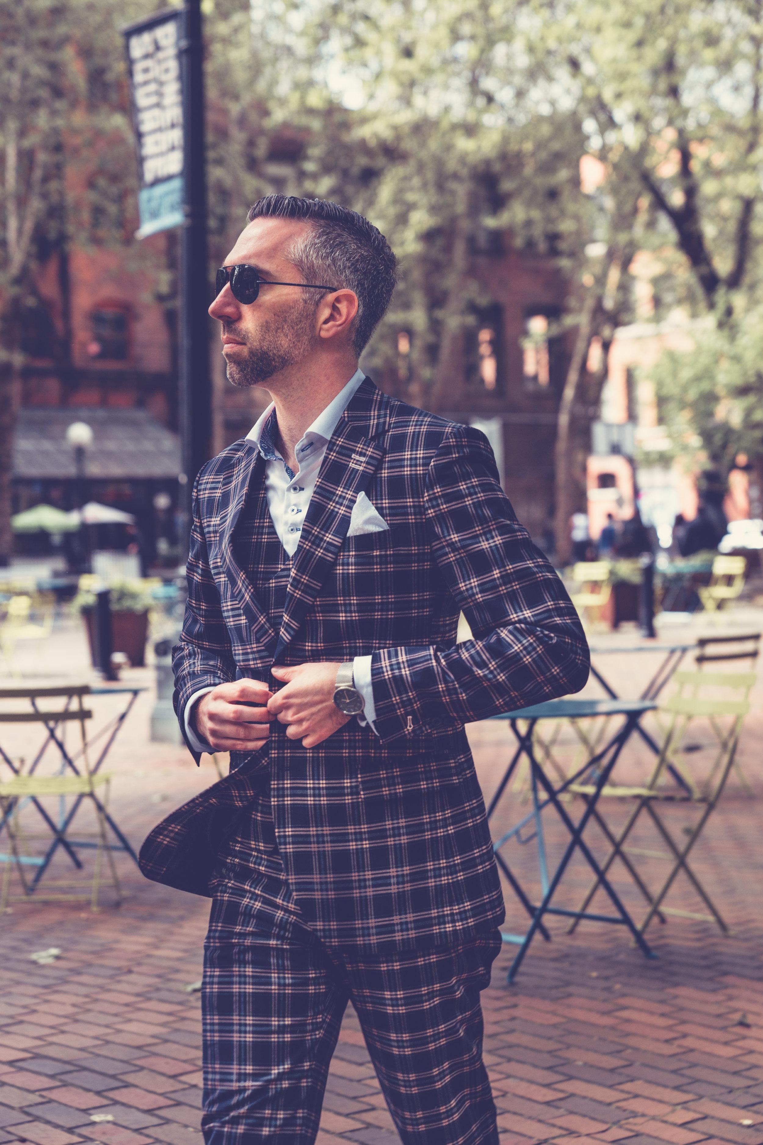 3-piece suit ($140), dress shirt ($24)