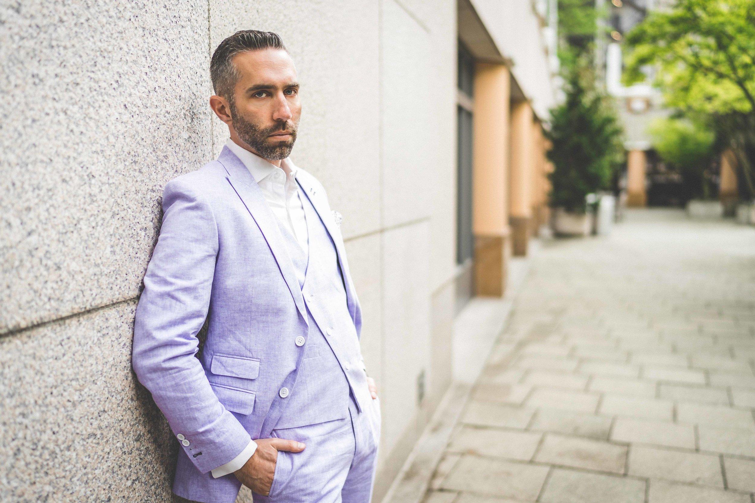 Men's Tailor Made 3-Piece Lavender Linen Suit