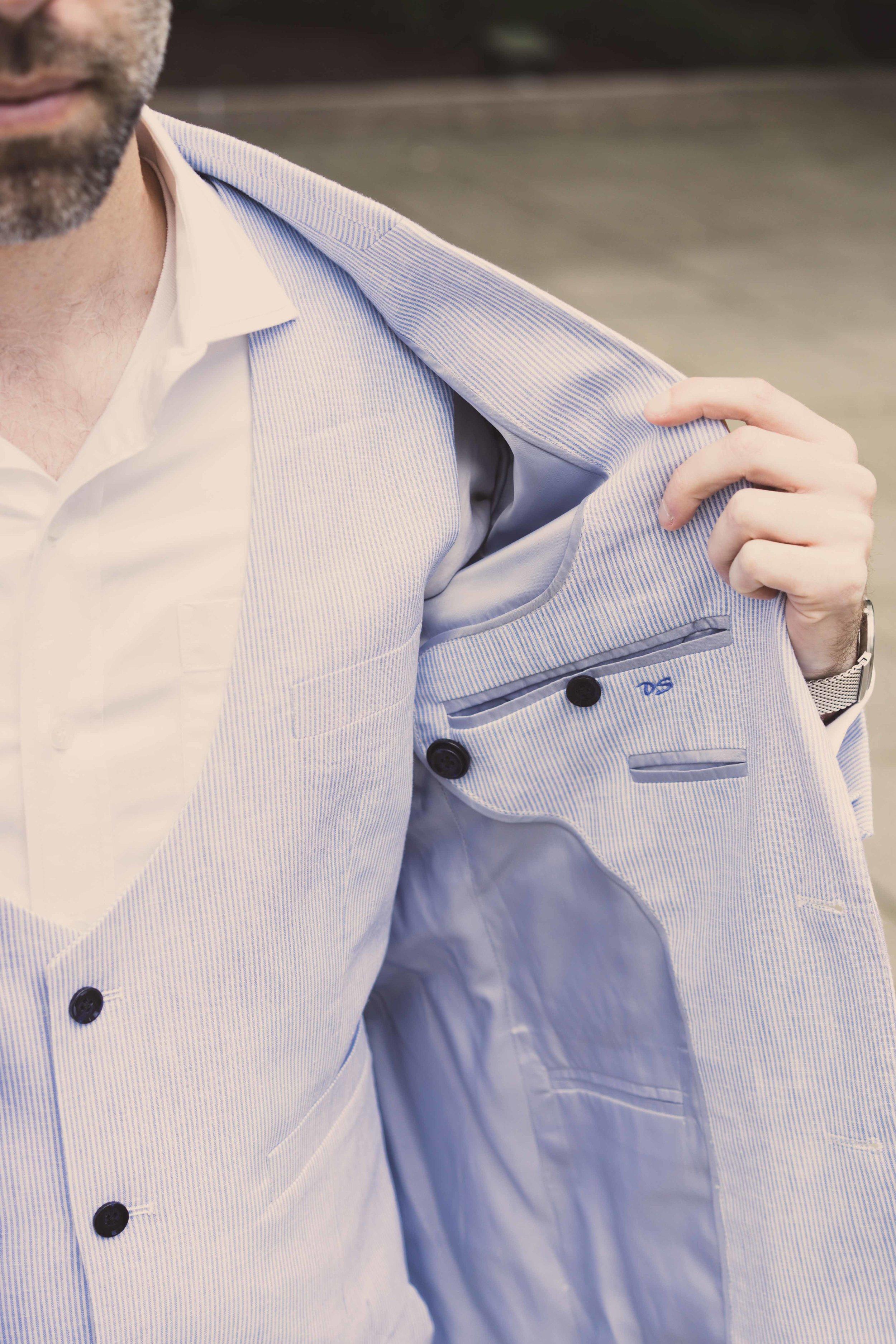 Men's Tailor Made 3-Piece Blue/White Suit