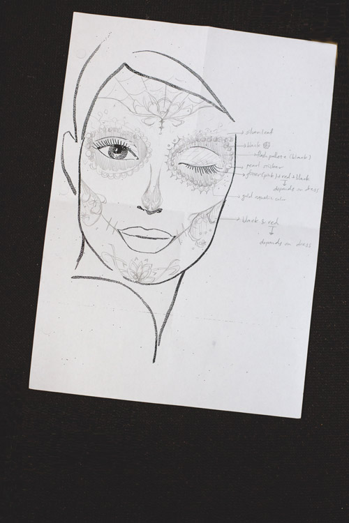The original concept as drawn by Hair and Makeup Artist Vivian Chen.
